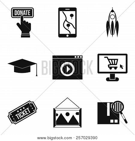 Network Resources Icons Set. Simple Set Of 9 Network Resources Icons For Web Isolated On White Backg