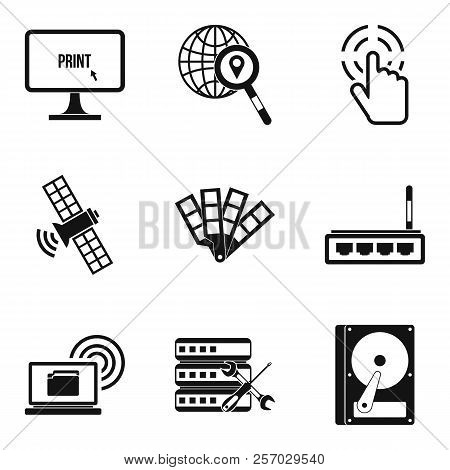 Interactive Resources Icons Set. Simple Set Of 9 Interactive Resources Icons For Web Isolated On Whi