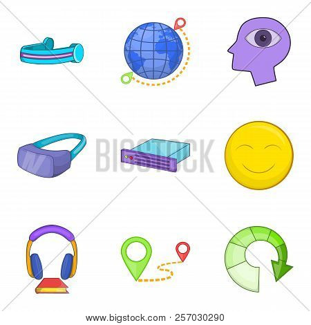 Web Gadget Icons Set. Cartoon Set Of 9 Web Gadget Icons For Web Isolated On White Background