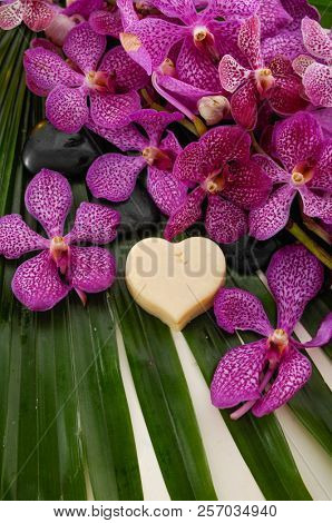 Spa set with soap, blak stones, orchid on palm leaf