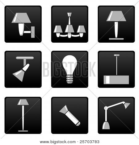 Vector light lamp icons set