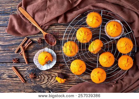 Freshly Baked Homemade Sweet Pumpkin Muffins  On A Round Stainless Steel Cake Cooling Rack On A Rust