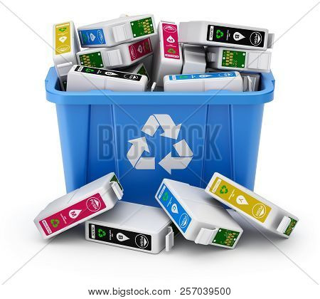 Cmyk Cartridges In Blue Recycle Crate On White Background - 3d Illustration