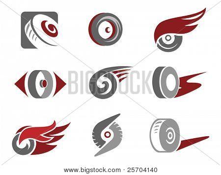 Set of rolling wheel symbols.