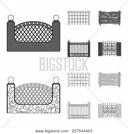 A Fence Of Metal And Bricks, Wooden Palisade. A Different Fence Set Collection Icons In Outline, Mon