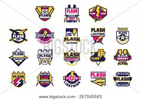 Flash Lightning Company Logo Design Template, Elements And Symbols For Electrical, Engineering Compa