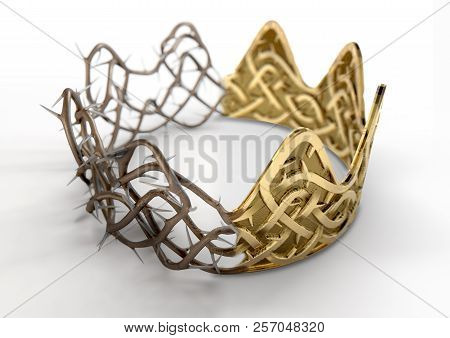 A Religious Crucifixion Concept Of A Split Between A Golden Crown And A Woven Thorn Crown On An Isol
