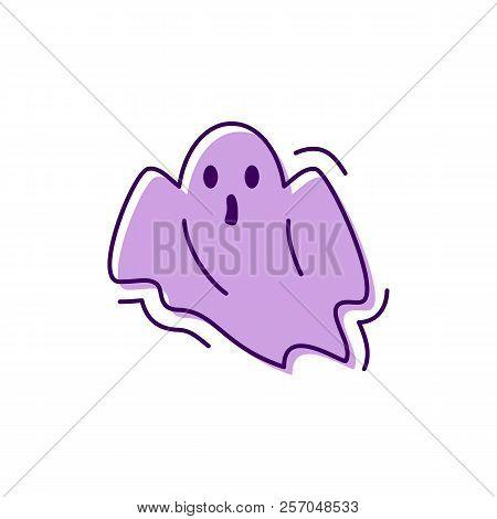 Ghost Icon Halloween. Facial Expression Horror, Spook, Phantom Sign. Thin Line Art Design, Vector Il