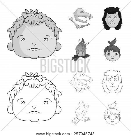 Woman, Hair, Face, Bonfire .stone Age Set Collection Icons In Outline, Monochrome Style Vector Symbo