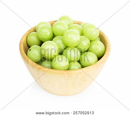 Fresh Indian Gooseberry In Wooded Bowl Isolated On White Background, Herb And Medical Fruit For Heal