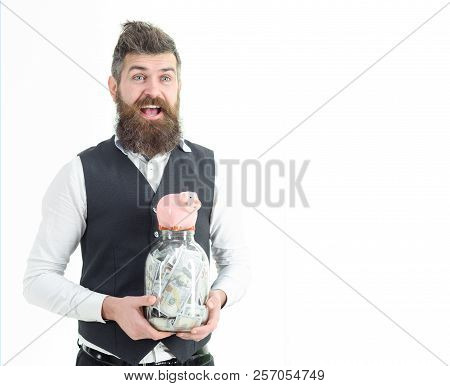 Businessman In Suit Is Hold Piggy Bank And Jar With Money. Saving Money. Money Saving For Future. Sm