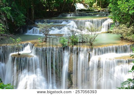 Scenic View Of Waterfall In The Forest (chatkaew),huai Mae Khamin Waterfall,kanchanaburi,thailand.