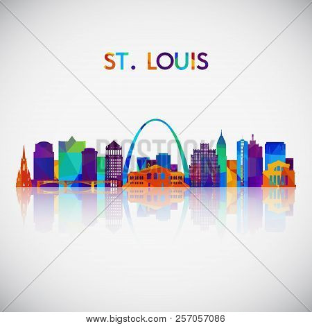 St.louis Skyline Silhouette In Colorful Geometric Style. Symbol For Your Design. Vector Illustration
