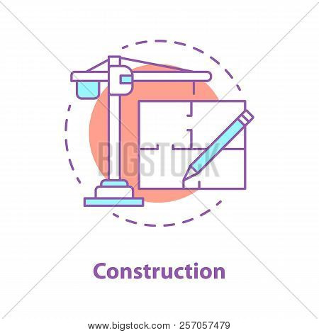Construction Industry Concept Icon. Architecture Idea Thin Line Illustration. Tower Crane, Floor Pla