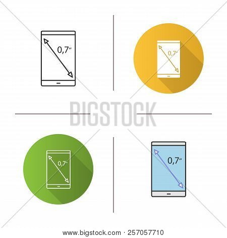 Smartphone Screen Size Icon. Display Diagonal Inch Size. Flat Design, Linear And Color Styles. Isola