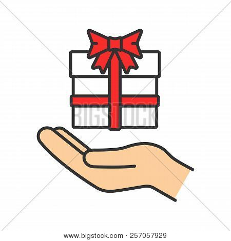 Present Color Icon. Open Hand With Gift Box. Giving, Getting Gift. Isolated Vector Illustration