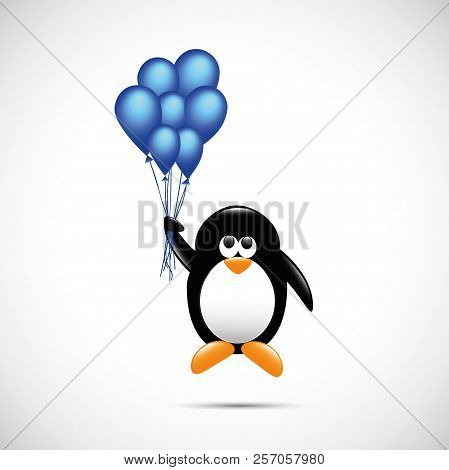 cute penguin flying with blue helium balloons childish cartoon design vector illustration EPS10 poster