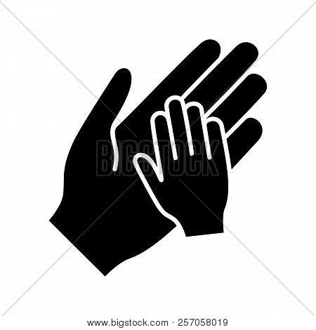 Charity For Children Glyph Icon. Silhouette Symbol. Parent And Child Hands Together. Child Protectio