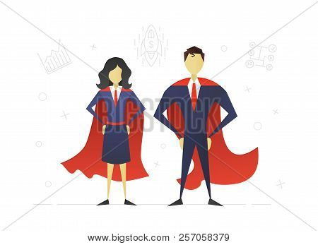 Super Woman And Superhero Flat Character Design. Leadership. Businesswoman And Businessman. Strong A