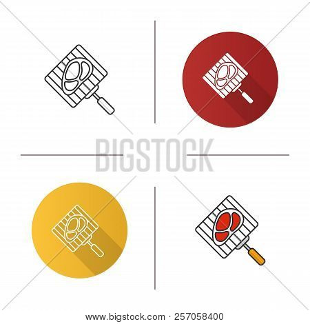 Hand Grill With Steak Icon. Barbecue Grid With Beefsteak. Flat Design, Linear And Color Styles. Isol