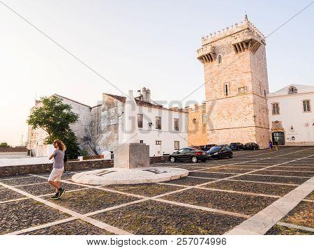 Estremoz, Portugal - August 23, 2018: Estremoz Castle (castelo Da Rainha Santa Isabel) With Tres Cor