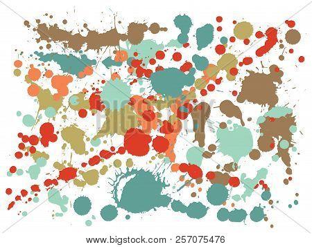 Gouache Paint Stains Grunge Background Vector. Scribble Ink Splatter, Spray Blots, Dirty Spot Elemen