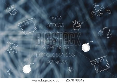 Positive And Negative Attitude Conceptual Illustration: List Of Stressed Attitudes With Fear-themed