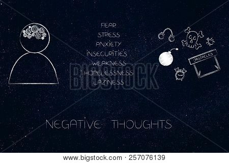 Person's With Gearwheel Thoughts Next To List Of Happy Attitudes And Dream-themed Icons