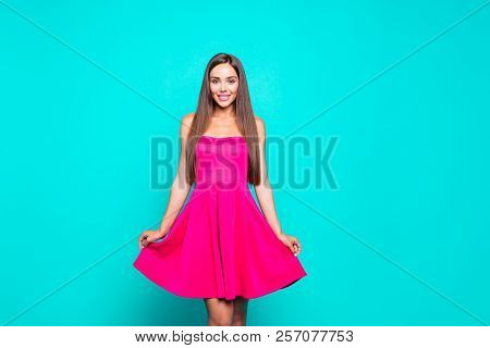 Young Gorgeous Nice Cute Attractive Perfect Smiling Glam Girl Wearing Bright Pink Fucsia Dress. Isol