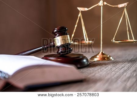 Judge Gavel With Justice Lawyers, Object Documents Working On Table. Legal Law, Advice And Justice C