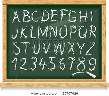 Alphabet und Zahlen auf einer Tafel