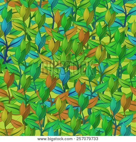 Tile Pattern, Seamless Background With Abstract Symbolical Plants With Colorful Leaves. Eps10, Conta