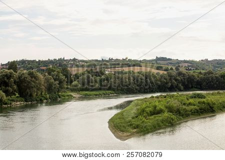 River With Hills In The Background