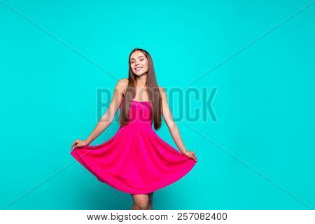 Young Gorgeous Nice Cute Attractive Perfect Smiling Lovely Glam Girl Wearing Bright Fucsia Mini Shor