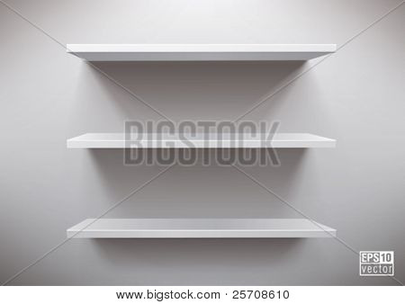 white shelves, eps10 vector