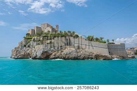Old Town Of Peniscola Seen From The Sea. Catellon. Spain.