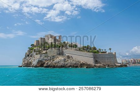 Old Town Of Peñiscola Seen From The Sea. Spain.