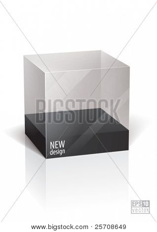 Cube transparent package for your object, eps10 vector
