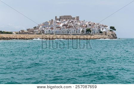 Old Town Of Peniscola Seen From The Sea. Castellon. Spain.