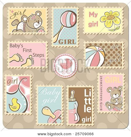 Baby girl announcement card - collection of postal stamps