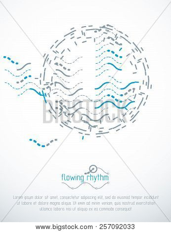 Technological Vector Backdrop Made With Abstract Lines. Modern Geometric Composition For Use As Adve