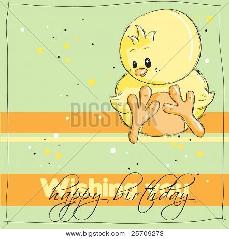 Easter greeting card - Chick - Wishing you happy birthday