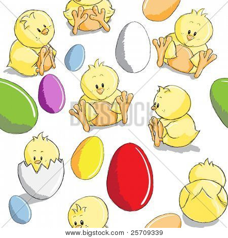 Seamless pattern - Easter eggs and chicks