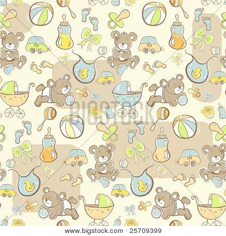 Seamless pattern - Cute baby blue pattern - vector version also available