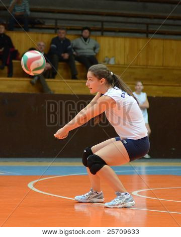 KAPOSVAR, HUNGARY - OCTOBER 16: Julia Schrauff in action at the Hungarian NB I. League woman volleyball game Kaposvar (blue) vs Ujpest (white), October 16, 2011 in Kaposvar, Hungary.