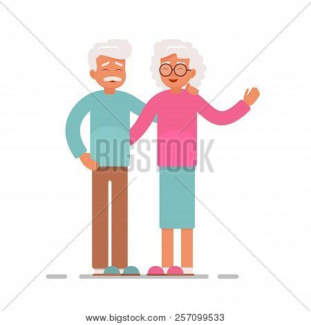 A Couple Of Elderly People Hugging And Smiling. Grandma And Grandpa Greet Raising His Hand Up. Vecto