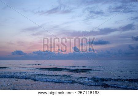 Sunset On The Beach In Torremolinos, Malaga. Spain.
