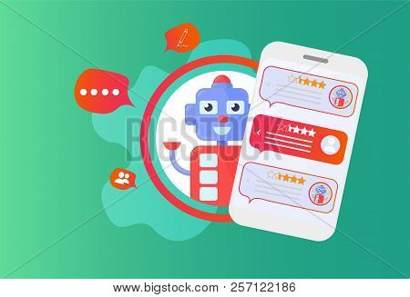 Chatbot Advisor Vector Illustration: Chat Bot Support Robot And Smartphone. Mobile Help Support Advi