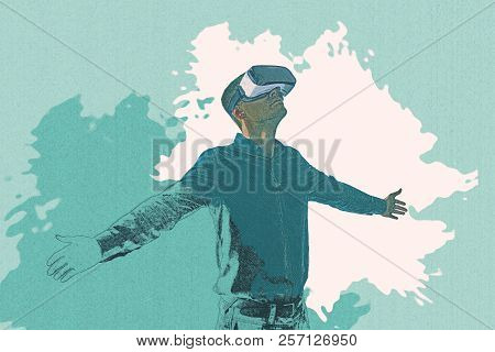 A Pencil Drawing Or An Illustration Of A Man In Virtual Reality Glasses. Modern Technologies. Creati