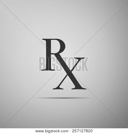 Medicine Symbol Rx Prescription Icon Isolated On Grey Background. Flat Design. Vector Illustration